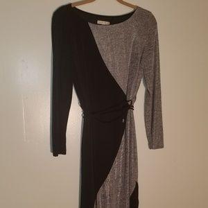 Black & Sparkling Silver Long Sleeve Jemper Dress